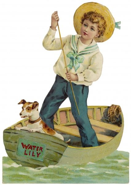 A sailor boy in a boat with his dog