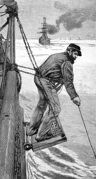 Engraving showing a seaman, on the side of an emigrant ship, heaving the lead to check the depth of the water with a plumb line, 1884