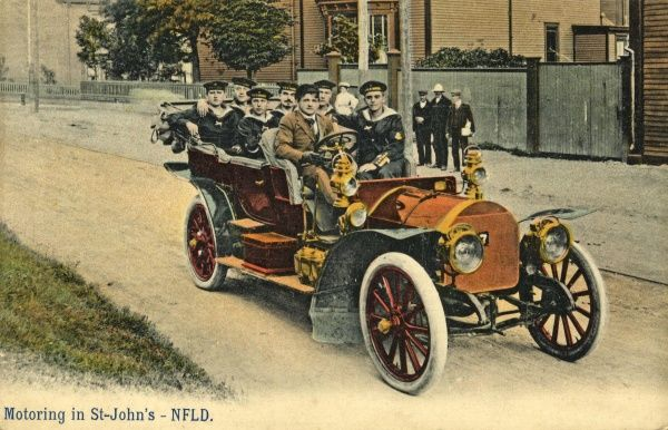 Sailors in a motor car in St Johns, Newfoundland, Canada