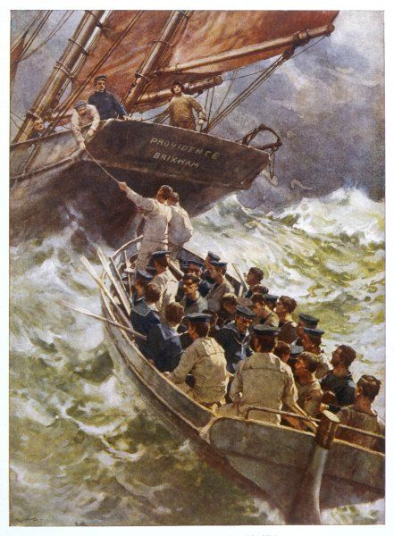 Torpedoed sailors are rescued by a Brixham fishing boat, aptly named the Providence, during the First World War