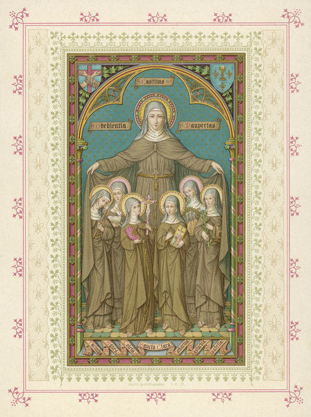 CLARA (Clare) of ASSISI Italian friend and follower of Francesco d'Assisi, she founded the order of 'Poor Clares' : she performed several useful miracles