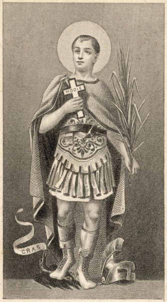 SAINT EXPEDITUS martyr, invoked at the eleventh hour for prompt solutions to urgent problems He is trampling a crow because they are notorious delayers