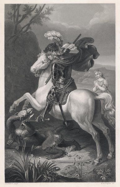 SAINT GEORGE Slays the dragon while a damsel watches safely out of harms way