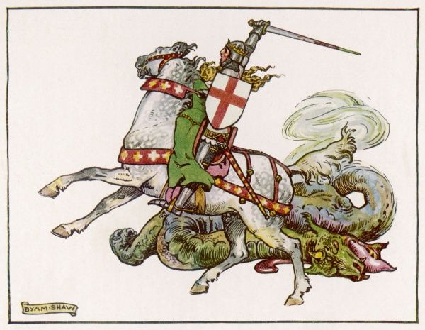 "SAINT GEORGE ""What Every Johnnie Bull Knows"" drawn by Byam Shaw depicting a rather vicious looking St. George and a very dead dragon"