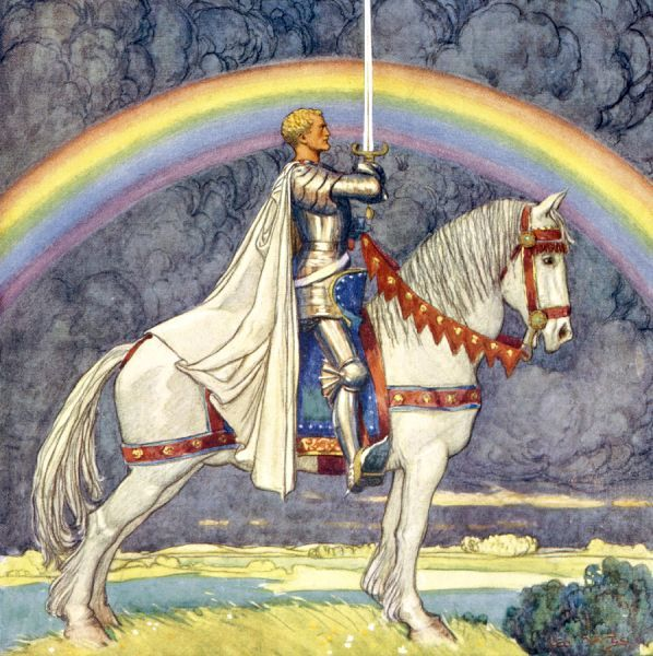SAINT GEORGE on horseback, with a rainbow in the background