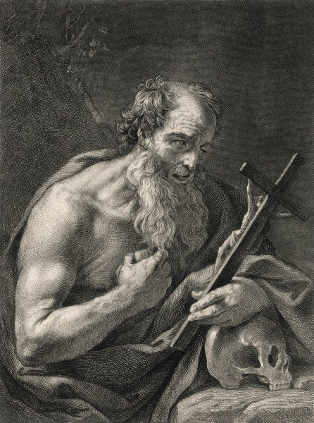 Saint Jerome, theologian, with a crucifix and a skull. He is best known for his translation of the Bible into Latin (known as the Vulgate)