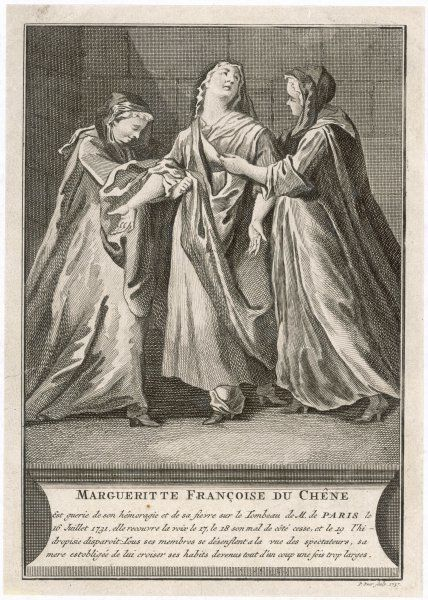 SAINT-MEDARD, Paris Marguerite Francoise du Chene is one of the convulsionnaires who is cured of her ailment, haemorrhage and fever, at the tomb of M. de Paris