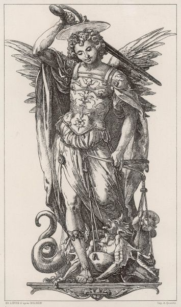 SAINT MICHAEL, the warrior angel, has weighed the devil in his scales and found him wanting ; so now he raises his sword to slay him. Alas, Satan will not stay dead
