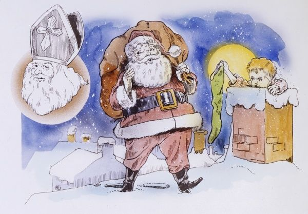 Saint Nicholas / Father Christmas / Santa Claus - delivering presents to the children of the world by climbing down chimneys on Christmas night