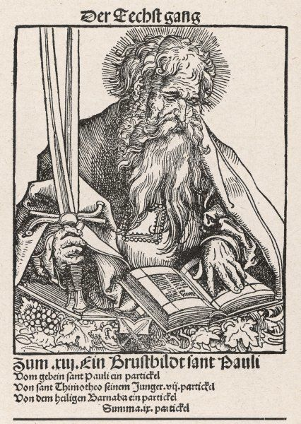 Saint Paul the Apostle, Paul of Tarsus, early Christian leader who went on several journeys to preach the gospel to the Gentiles, as documented in several books of the New Testament. Before his conversion his name was Saul. Seen here reading a book