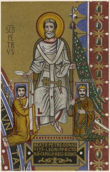 SAINT PETER the first Pope, depicted blessing Church and State as equal partners in the ordering of human life