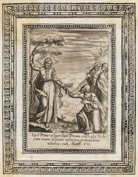 Saint Peter, one of the Twelve Apostles and the first Pope. Depicted receiving the keys to the Kingdom of Heaven from Jesus. His ultimate fate, crucifixion...head down