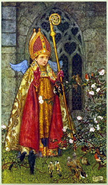 SAINT VALENTINE depicted here as boy bishop ; he was martyred on February 14 day when birds are supposed to pair, hence 'Saint Valentine's Day&#39