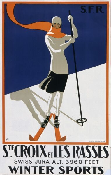 Tourism poster for Sainte-Croix et les Rasses in the Jura region of Switzerland at an altitude of 3960 feet, popular with winter sports enthusiasts like the skiing lady pictured