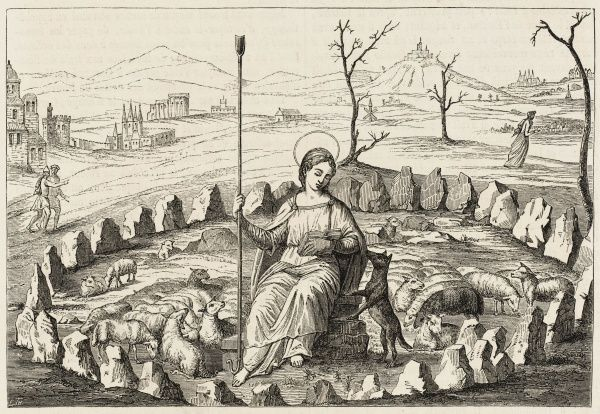 This remarkable picture depicts Genevieve tending her flocks in the centre of a pagan stone circle
