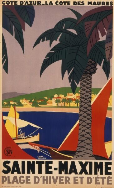 Graphic and striking poster advertising the French holiday resort of Sainte Maxime on the Cote d'Azur in the South of France