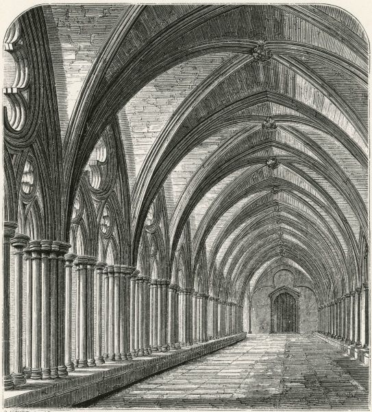 The cloisters of Salisbury Cathedral, Wiltshire Date: circa 1860