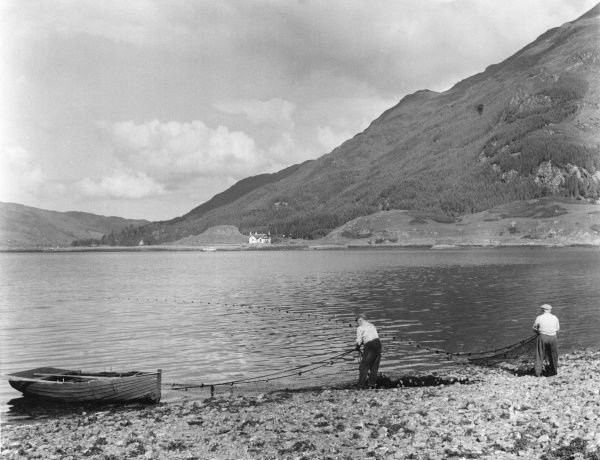 Anglers salmon fishing in Loch Duich, Scotland