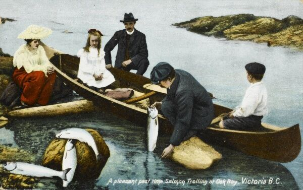 'A Pleasant Pastime' - Salmon Trolling at Victoria, British Columbia, Canada. Trolling is the practice of fishing by drawing a baited line or lure behind a boat
