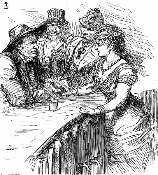 Engraving showing a bar rooom scene with barmaid and three cowboys in a North American 'frontier' town, c.1880