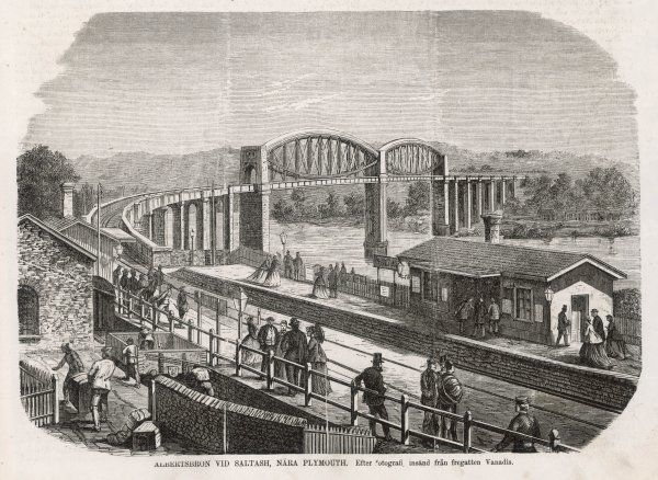 The station and Brunel's 180- metre Rpyal Albert Bridge carrying the Cornish Railway over the Tamar at Saltash, near Plymouth. The bridge was opened on 2 May 1859
