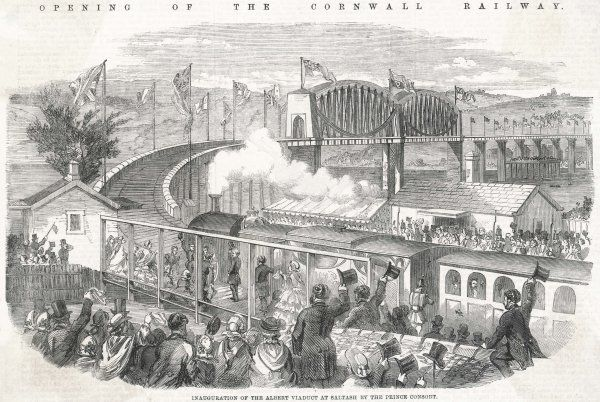 Prince Albert opens Brunel's magnificent viaduct, which also inaugurates the rail link to Cornwall