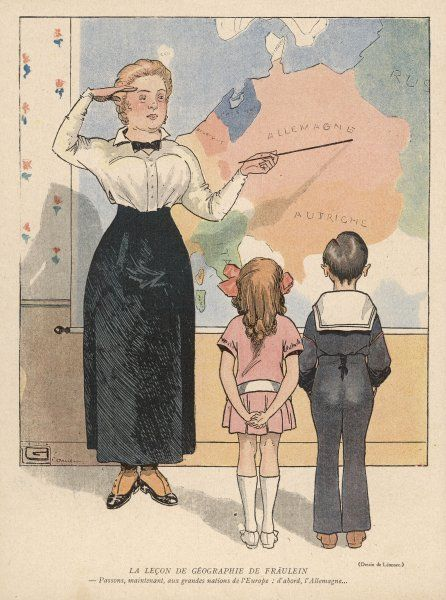 The German governess salutes as she shows her pupils where Germany is on the map