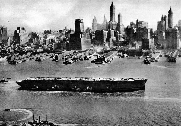 Photograph of the 'Normandie' in New York Harbour, November 1943