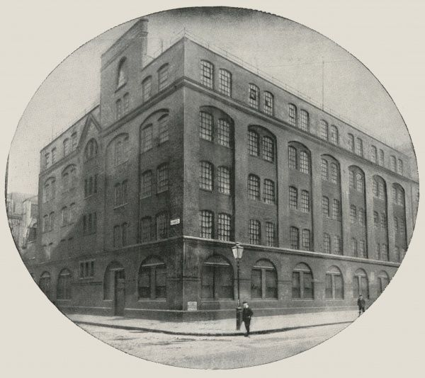 A large factory building on Great Peter Street, Westminster, Central London, leased by the Salvation Army for use as a night shelter. Men were allowed to sleep here on backed benches