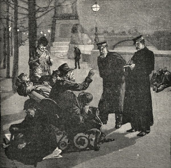 Salvation Army officers in conversation with a group of vagrants spending the night on a bench on the Thames Embankment in Central London. The officers could offer such people an admission ticket to one of the Army's shelters