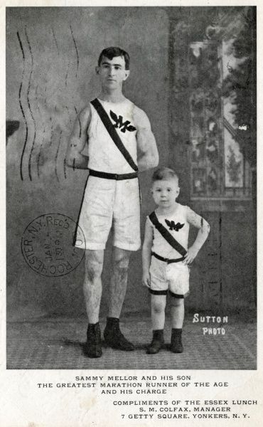 Sammy Mellor and his son, the greatest marathon runnner of the age and his charge. He won the Boston marathon in 1902