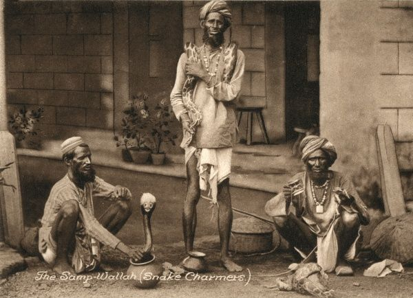 A trio of Indian snake charmers (samp wallahs) demonstrate their art