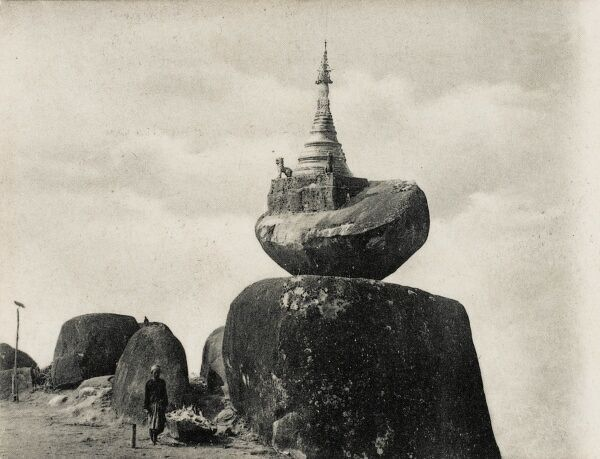 Burma (Myanmar) - The Sampan Pagoda, with a golden stupa sitting atop this miraculously-balanced rock. In the history of Myanmar, the significance of Buddhism is reflected in a landscape dominated by these pagodas