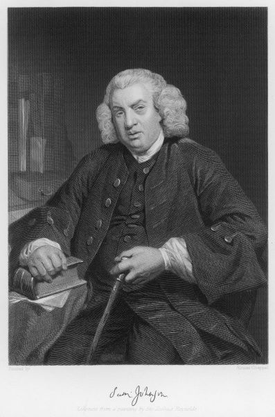 DR SAMUEL JOHNSON with his autograph