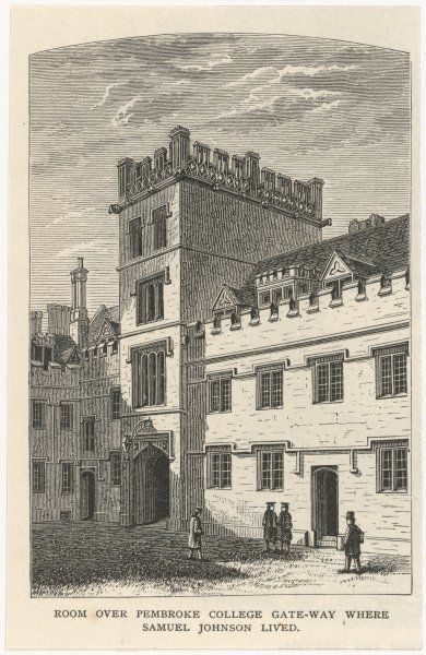 DR SAMUEL JOHNSON English writer's room over Pembroke College Gateway in Oxford, where he studied
