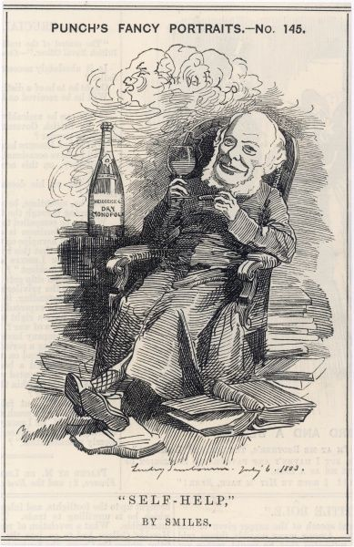 SAMUEL SMILES Scottish author, best known for his book 'Self-Help' of 1859, helping himself to a large glass of champagne