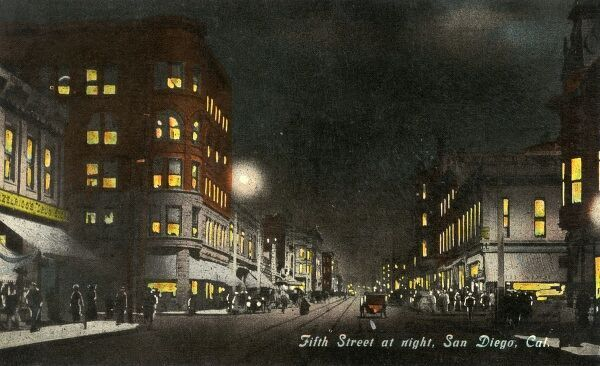 San Diego, California - 5th Street at nightime, USA. Date: 1915