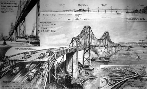 Illustration of San Francisco - Oakland Bay bridge, at the time the largest bridge system in the world at 8.25 miles long. It was a double deck structure with 6 lanes for traffic and two for electric trains