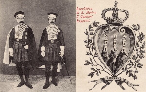 The Most Serene Republic of San Marino - The Head of State is a Committee of Two! Here they are depicted in traditional attire. The San Marino Constiution enacted in 1600 is the world's oldest. Date: 1903