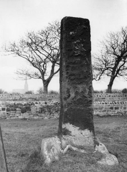 The Monk's Stone, a sanctuary stone, connected with Tynemouth Priory. Since this photograph was taken, the stone has been blown down in a severe storm. Date: 1930s