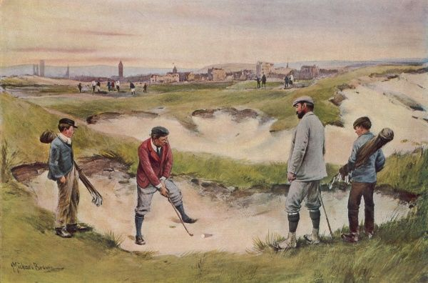 A gentleman plots his escape from the sand as his partner and caddies look