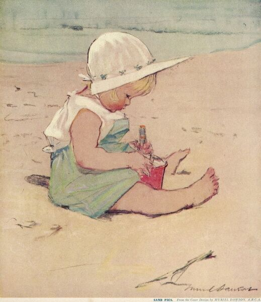 A small blonde girl in a sunsuit and sun bonnet studiously mixes sand in a bucket