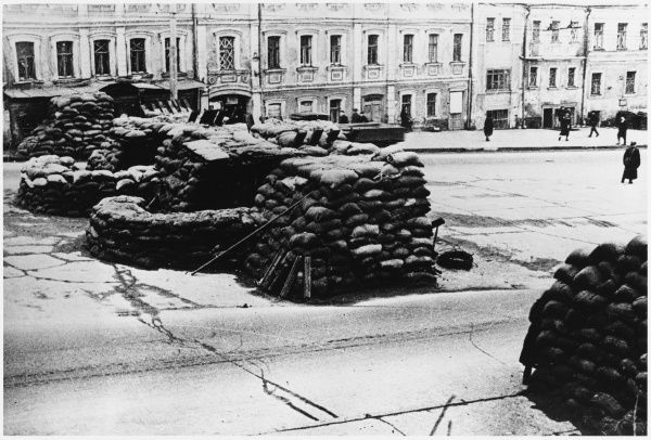Sandbag barricades in Smolensk Street, Moscow, anticipating a German attack on the city, which fortunately was prevented