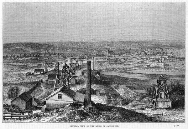General view of the mines at Sandhurst, Australia