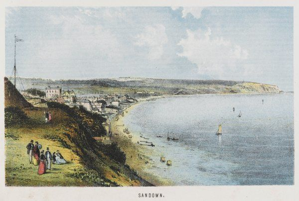 Sandown and its bay seen from the cliffs