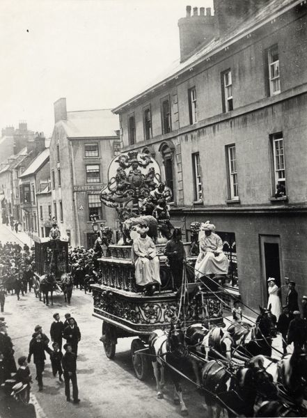 Street scene, showing Sanger's Circus visiting Haverfordwest, Pembrokeshire, Dyfed, South Wales