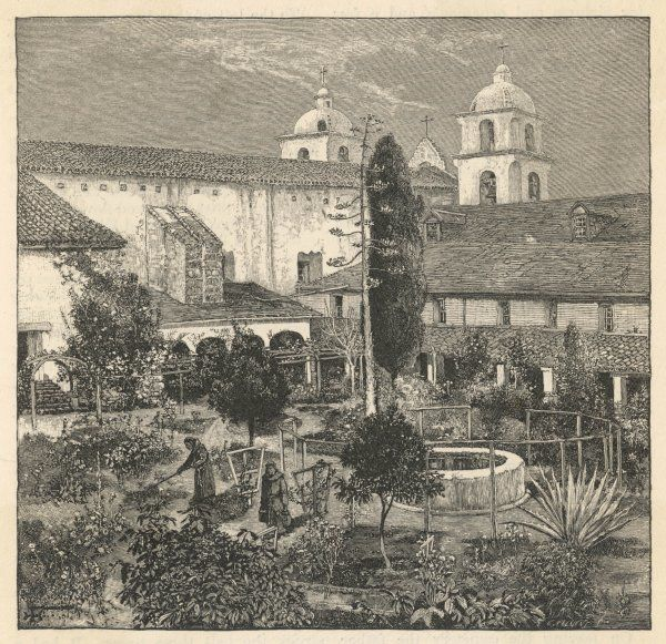 Santa Barbara Mission was founded in 1786. Portions of five units of its extensive water works survive today. Ruins of tanning vats and pottery kilns also survive