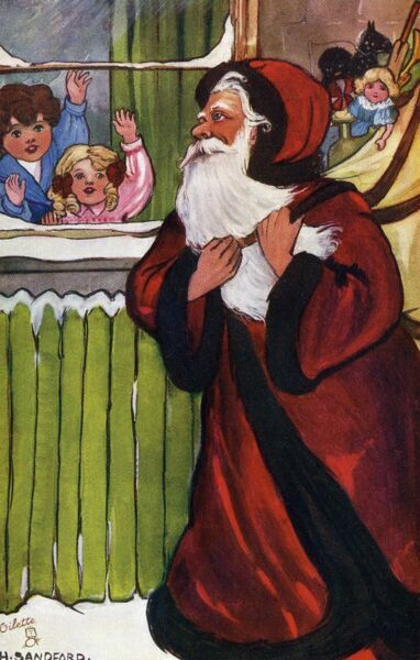 Santa brings the toys by Hilda Dix Sandford. Illustration from a postcard by Hilda Dix Sandford (1875-1946). She specialised illustrating children at play. Date: circa 1909