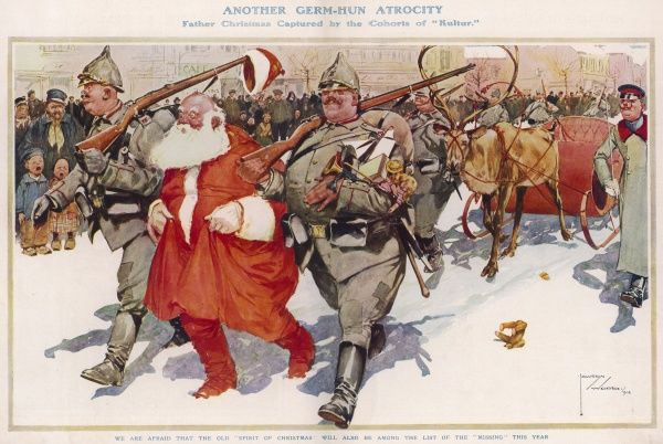 Another Germ-Hun Authority: Father Christmas captured by the Cohorts of Kultur showing German soldiers arresting Santa Claus