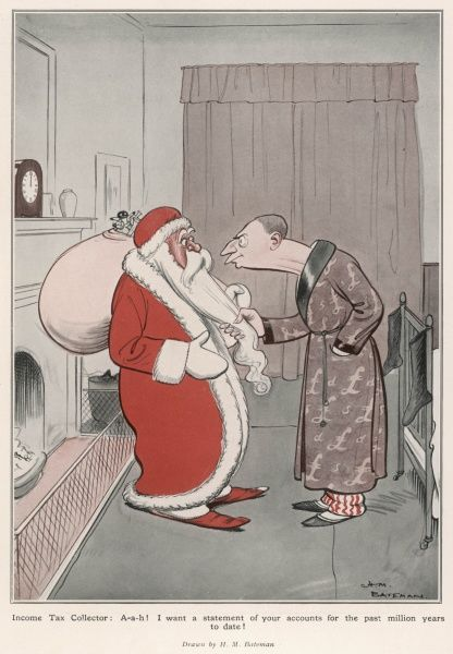 A rather surprised looking Father Christmas, who has arrived at the house of a tax inspector to innocently deliver toys on Christmas Eve, finds himself caught by a vigilant tax inspector